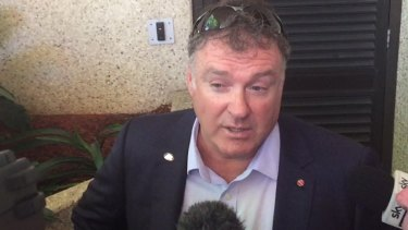 Rodney Culleton addresses the media during a lunch break at court.