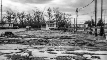 """A largely vacant trailer park near downtown Dayton testifies to an economy devastated by the """"Great Recession""""."""
