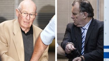 """Roger Rogerson (left) and Glen McNamara during their trial for the murder of Jamie Gao during an """"inept"""" drug rip-off."""