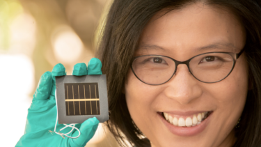 Anita Ho-Baillie, senior research fellow at UNSW, with a record-breaking solar cell.