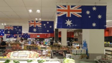 "A Brisbane Times reader snapped these ""Australian flags"" at the Coles supermarket in Toowong, Brisbane. The Southern Cross is facing the wrong way and the Union Jack is also reversed."