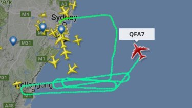 QF7, heading to Dallas in the United States, circling off Wollongong as it dumped fuel.