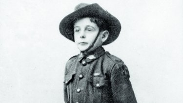 Digger (Henri Hemene) in a  miniature tailor-made Australian uniform in London, 1919.