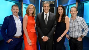 The new Shark Tank line-up: Dr Glen Richards, Naomi Simson, Andrew Banks, Janine Allis and Steve Baxter.