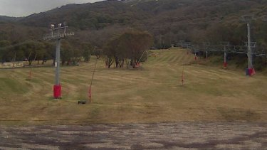Less than ideal: The view at Friday Flat at Thredbo on Thursday afternoon.