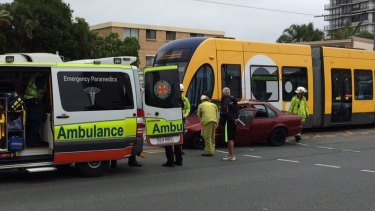 7 News reporter Amanda Abate tweeted today's incident was the second in a week involving a car and tram on the Gold Coast.