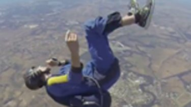 Christopher can be seen spiraling through the air following the seizure