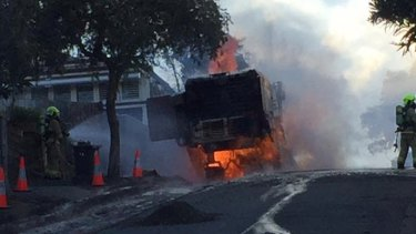 The road cutter was on fire for more than an hour.