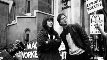 Helen Steel, with fellow activist David Morris, in London in 1990 during the McLibel trial.