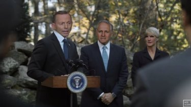 Tony Abbott, Malcolm Turnbill and Julie Bishop in mashup 'Parliament House of Cards'.