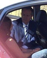 Bill Shorten at the scene of car crash at Testers Hollow near Cessnock and Maitland.