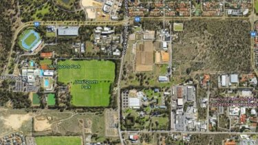 The development is proposed for the bushland area to the right of the UWA playing fields.