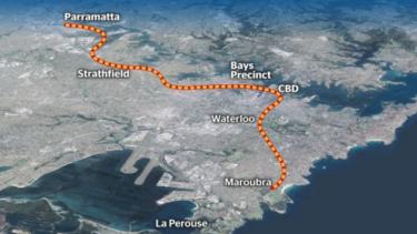 Possible route of a proposed Parramatta-CBD metro line.