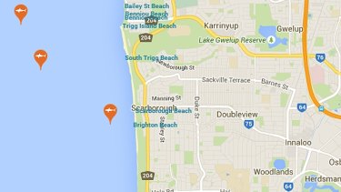 Shark sightings off Perth's western suburb beaches.