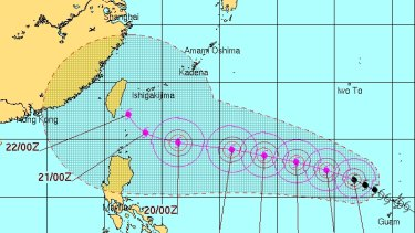 Projected path of Typhoon Goni has it tracking towards Taiwan.