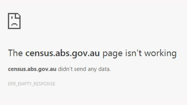 Out for the count: An error message seen when trying to submit the census.