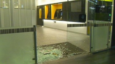 The Commonwealth Bank in Swanston Street on Wednesday morning after a man drove at speed down the footpath on Tuesday night.