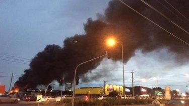 Smoke from the Campbellfield factory blaze.