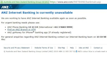 The message displayed on the ANZ internet banking website.