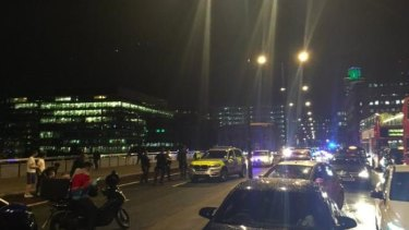 Police descended on London Bridge after a van reportedly hit pedestrians.