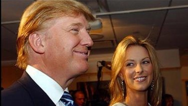 Past but not forgotten ... Donald Trump and Jennifer Hawkins in 2004 after she was crowned Miss Universe.