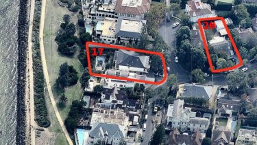 An aerial view shows properties on 17 and 20 Birdwood Avenue.