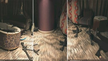 Photos from inside the Las Vegas hotel room show some of the 33 guns Stephen Paddock amassed over a year.