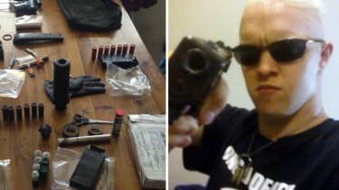 Michael James Holt with some of the weapons seized.