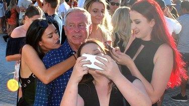 Colin Barnett swamped by 'fans' At Elizabeth Quay.