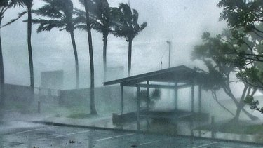 Tropical Cyclone Marcia smashing the coast at Yeppoon.