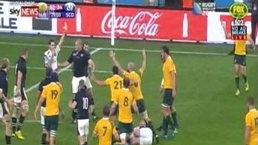 Last-gasp penalty: Craig Joubert blows in Australia's favour.