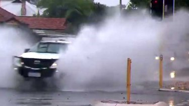 Record rainfall lashed Perth overnight.