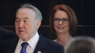 Kazakhstan President Nursultan Nazarbayev with then Australian prime minister Julia Gillard.