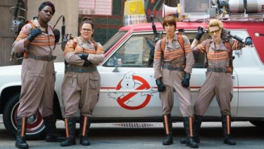 Diverse, all-female cast ... Leslie Jones, Melissa McCarthy, Kristen Wiig and Kate McKinnon in <i>Ghostbusters</i>.