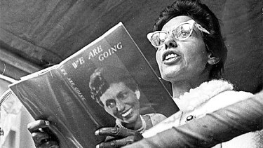 Oodgeroo Noonuccal giving a poetry reading in 1965.