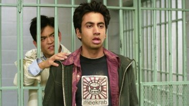 Kal Penn (centre) in the comedy film Harold and Kumar Go to White Castle.