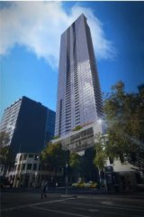 The 887-apartment tower proposed by Central Equity for 560 Lonsdale Street.