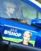Julie Bishop photographed using her mobile phone while driving on the Great Eastern Highway in Perth two days before the federal election.