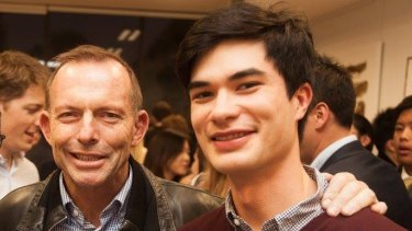 Julian Chu, president of the Earlwood-Kingsgrove Young Liberals, with Tony Abbott in June.