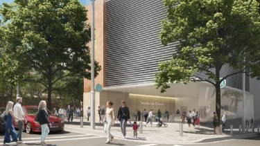 An artist's impression of the northern entrance to the new station at North Sydney.