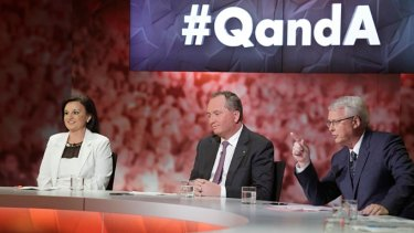 Tony Jones, host of ABC's <i>Q&A</i> program, with independent senator Jacqui Lambie and Agriculture Minister Barnaby Joyce.