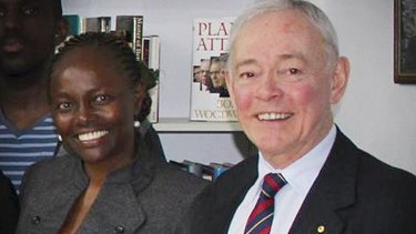 Former Family First senator Bob Day with senator-elect Lucy Gichuhi, who took his place after the High Court ruled his election invalid.
