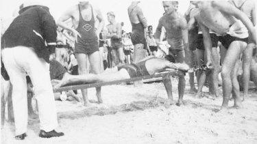 Lifesavers rescue swimmers on Black Sunday, February 6, 1938.