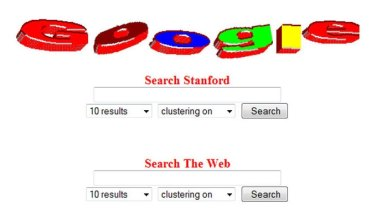 An early version of the Google start page.