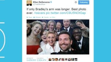 Ellen's prolific Oscars tweet.