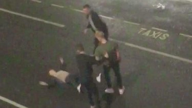 Ben Stokes (green shirt) in video footage  of a street brawl.