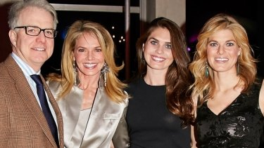 Family snap: Hope Hicks (second from right) with her father Paul Hicks, her sister Mary Grace Hicks (right) and mother Caye Hicks.