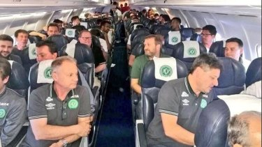 Players from Chapecoense on board a flight, believed to be the one that crashed.
