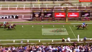 Winx crosses the finish line for her victory by more than six lengths.