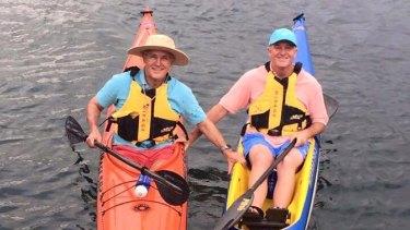 Malcolm Turnbull and John Key kayaking in Sydney Harbour in February.